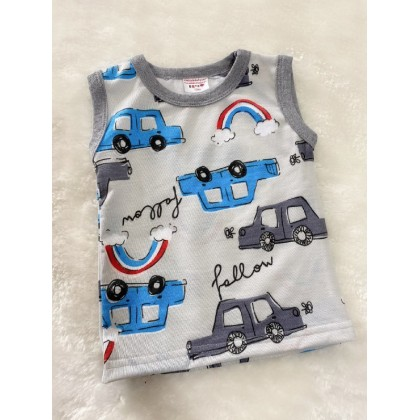 Printed Singlet -728 Grey Car