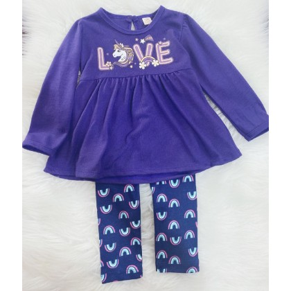 Long Sleeve Girl Set -#219 Purple Unicorn