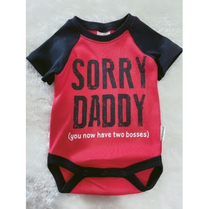 Baby Romper  ~#239 Red Black Sorry Daddy