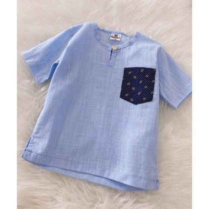 Kurta Cotton Linen #299 Light Blue With Dot Pocket
