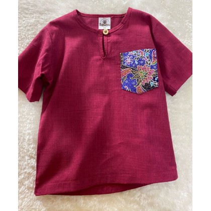Kurta Cotton Linen #299 Red With Batik Pocket