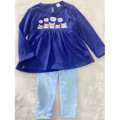 Long Sleeve Girl Set -#309 Blue With Blue Pant