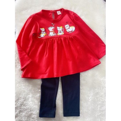 Long Sleeve Girl Set -#309 Red Cat With Black Pant