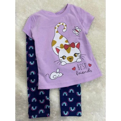 Girl Set-#210 Purple Cat With Rainbow Pant