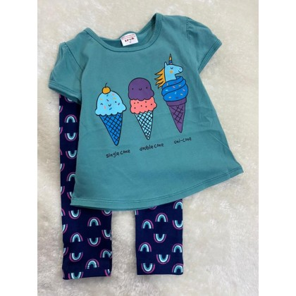 Girl Set-#210 Turq Green With Rainbow Pant