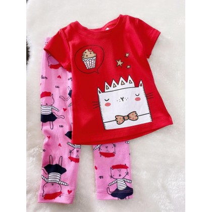 Girl Set-#910 Red Cat With Pink Pant