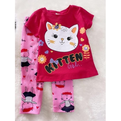 Girl Set-#910 Red Kitten With Pink Pant