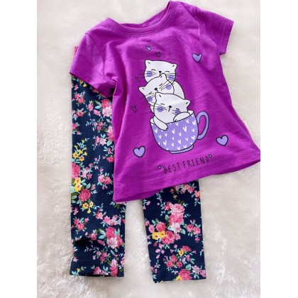 Girl Set-#1510 Purple Cat With Navy Pant