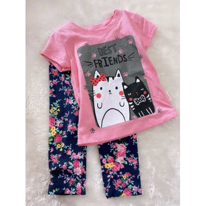 Girl Set-#1510 Pink Best Friend With Navy Pant