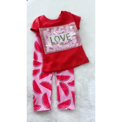 Girl Set-1207 sequern  red watermelon