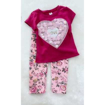 Girl Set-1210 SEQUERN RED HEART WITH PINK FLOWER PANT