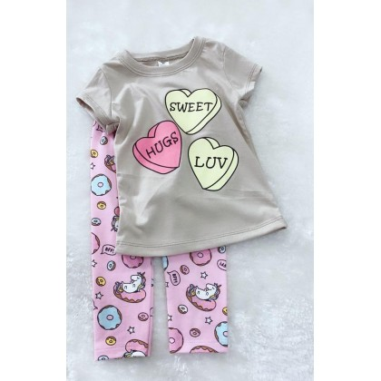 Girl Set-#2412 Light Brown Sweet Heart With Pink Pant