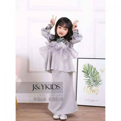 #J19082 Sequins Peplum Kurung with Emb Flower Lace (Grey)  ~ ETA 26-30/4