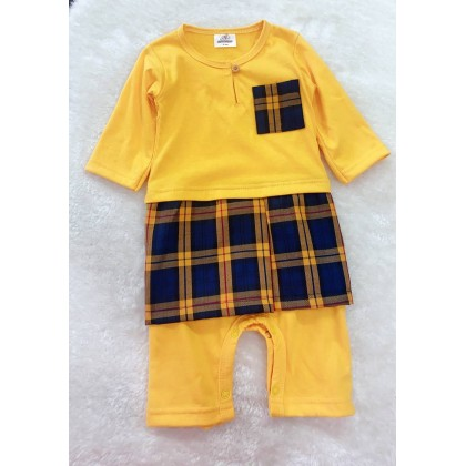 Jumper Melayu Sampin -#2904 Yellow with Navy Checker Sampin