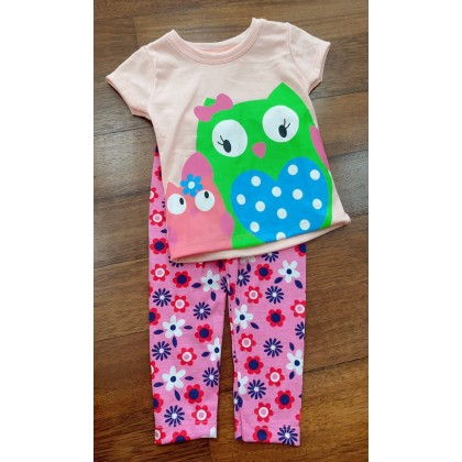 Girl Set-#0309 Pink Owl With Pink Flower Pant