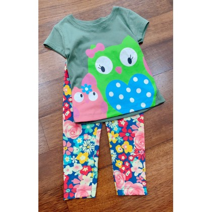 Girl Set-#0309 Olivia Green Owl With Flower Pant