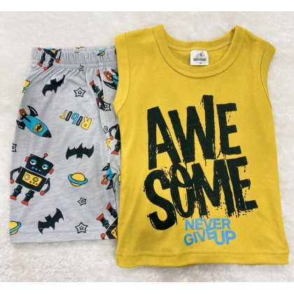 Singlet Boy Set-#0910 Yellow Awesome Never Give Up